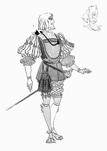 Maquette pour le costume de Faust dans 'Faust' de Charles Gounod