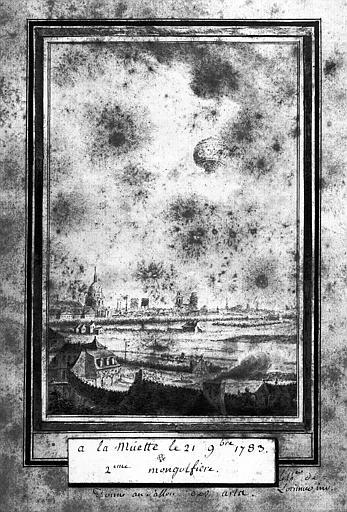 Dessin : Deux montgolfières à la Muette le 21 novembre 1783