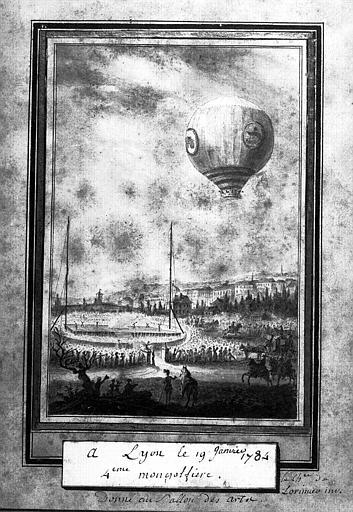 Dessin : Une montgolfière à Lyon le 19 janvier 1784