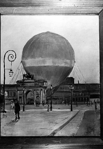 Le ballon de Giffard aux Tuileries, peinture sur toile