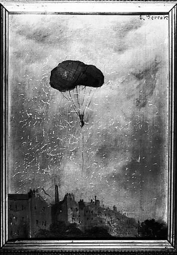 Ballon de Perrot dégonflé tombant au-dessus de Paris, peinture sur toile