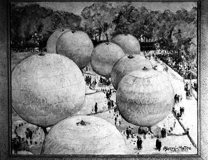 Course de ballon de mars 1936, peinture sur toile