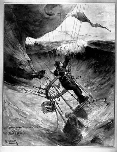Aquarelle dédicacée à monsieur Gaston Tissandier, mars 1885 : Le marin Prince tombant dans la mer