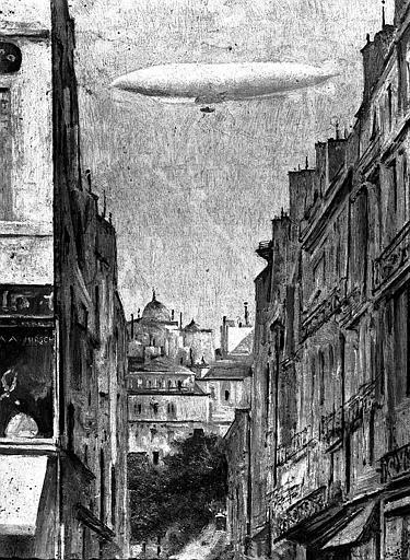 Le dirigeable République au-dessus de Paris en 1909, peinture sur toile