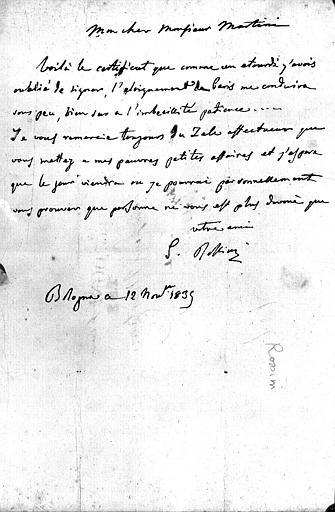 Lettre de Rossini datée du 12 novembre 1835