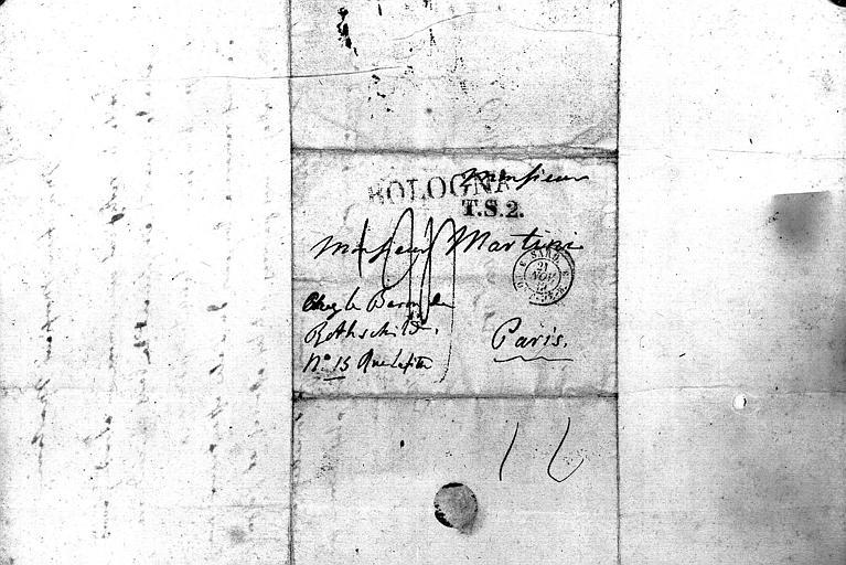 Intitulé de l'adresse, cachet de la poste de Bologne daté du 21 novembre 1835 de la lettre de Rossini
