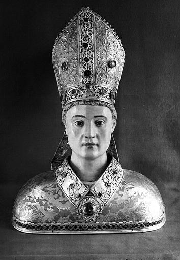 Buste reliquaire en argent, vermeil et polychrome, face