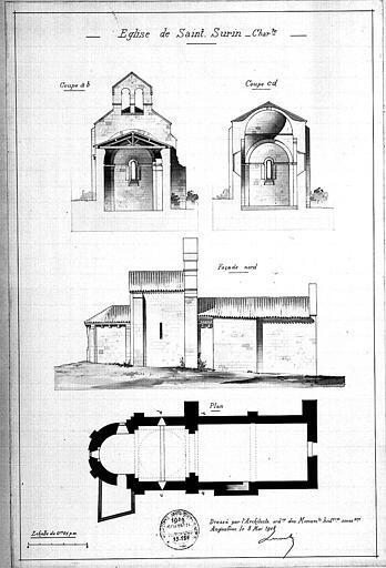 Plan, coupe et élévation de la façade nord