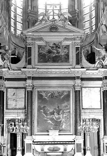 Les apôtres au tombeau de la Vierge et l'Assomption de la Vierge, peintures sur toiles de la partie inférieure du maître-autel