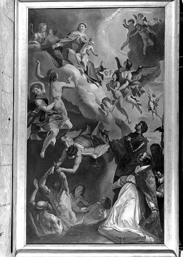 Saint Grégoire le Grand et saint Vital intercédent auprès de la Vierge pour les âmes du purgatoire, peinture sur toile de la chapelle des Ames-du-Purgatoire