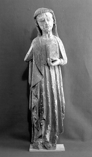 Statue en bois polychrome, face