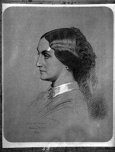 Portrait de femme, crayon et rehauts de craie blanche, dédicacé 'à son ami Régnier'