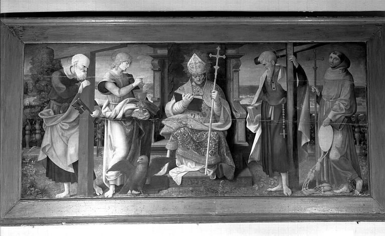 Panneau peint : Saint Pierre, saint Jean l'évangéliste, saint Augustin, saint Philippe apôtre et saint Bonaventure