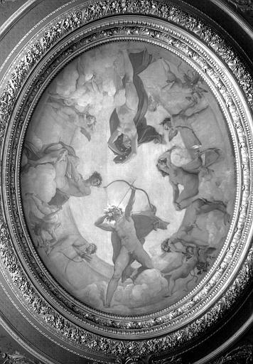 Plafond du grand salon, peinture : Le jour chassant la nuit