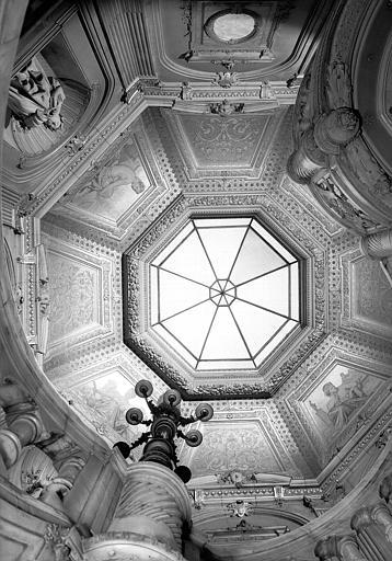 Peintures murales allégoriques représentant : Rome, Florence, Venise, Naples, escalier du vestibule d'entrée