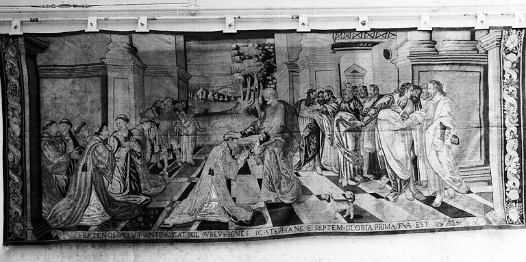 pièce murale : l'ordination de saint Etienne (tenture de neuf pièces de la vie de Saint Etienne)
