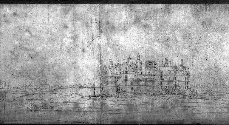 Dessin préparatoire aux tapisseries de l'histoire du Roi : Vue du château de Chambord, détail