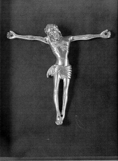 Croix de procession en cuivre argenté : Le Christ