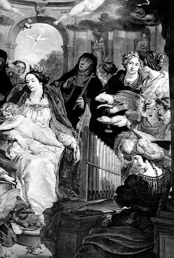 Mariage mystique de sainte Catherine, détail de peinture sur toile