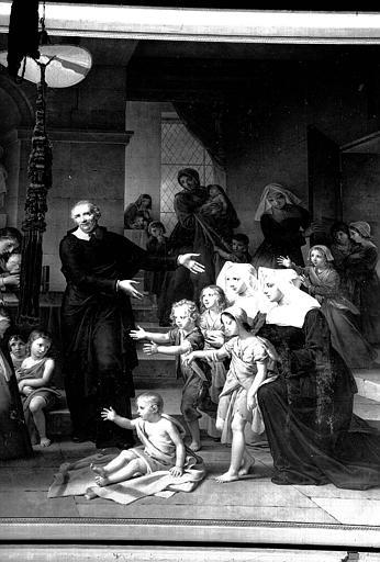 Saint Vincent de Paul prêchant la charité, détail de peinture sur toile. Salon de 1824