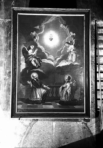 Saint François de Sales et saint François Régis adorant le Sacré-Coeur, peinture sur toile