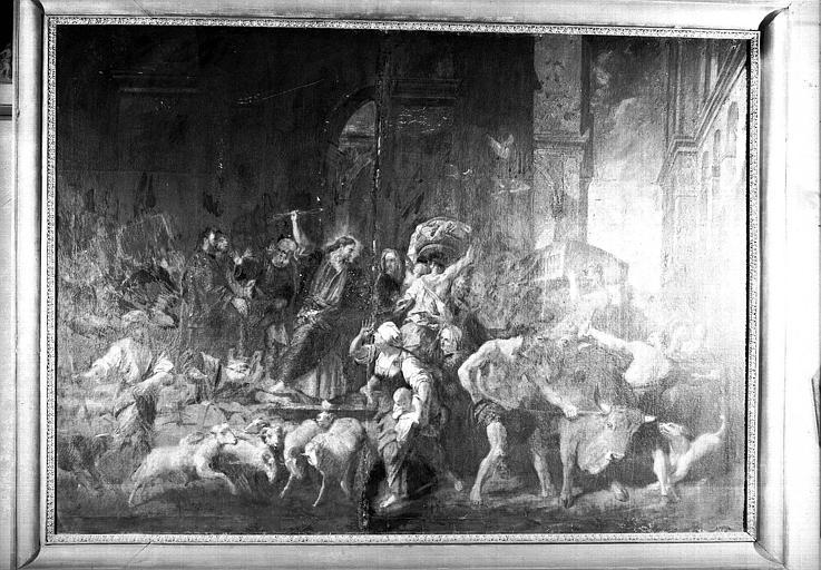 Jésus chassant les marchanDS1 du Temple, peinture sur toile