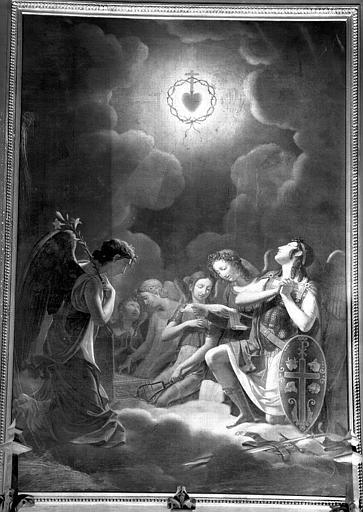 Anges adorant le Sacré-Coeur, peinture sur toile