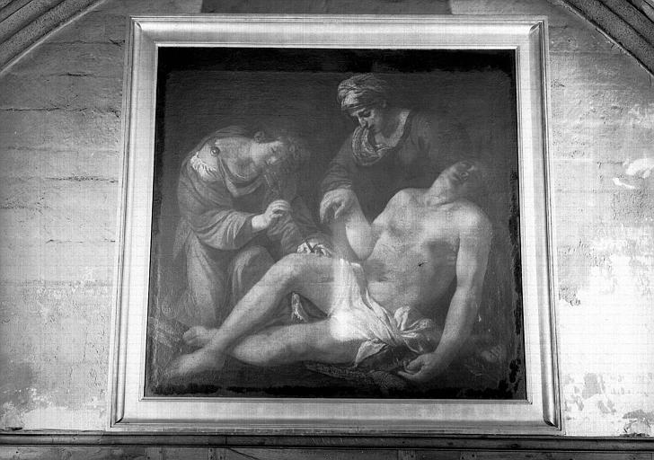 Saint Sébastien soigné par sainte Irène, peinture sur toile
