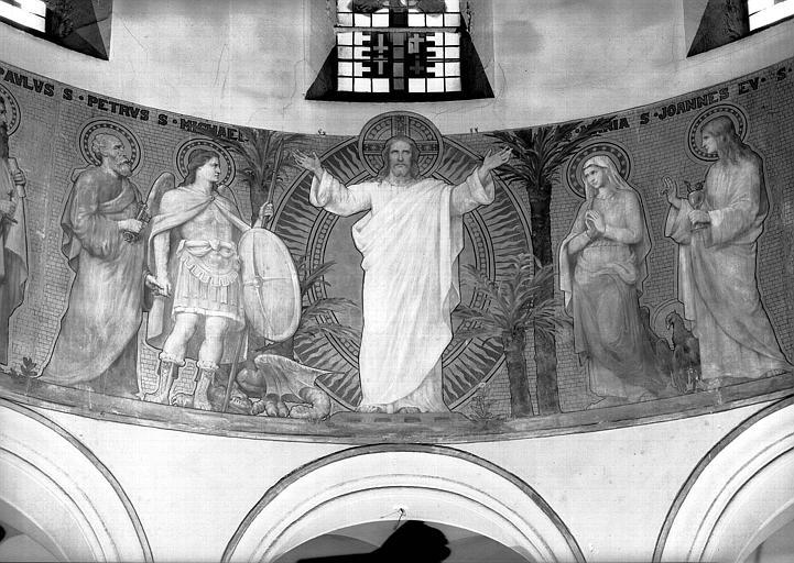 Peinture murale : Christ et saints