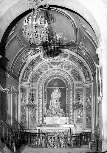 Autel, statue en stuc de saint Bruno en prière, chapelle Saint-Bruno