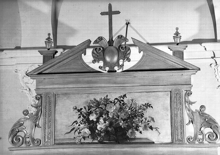 Corbeille de fleurs, peinture sur toile de la chapelle Saint-Bruno