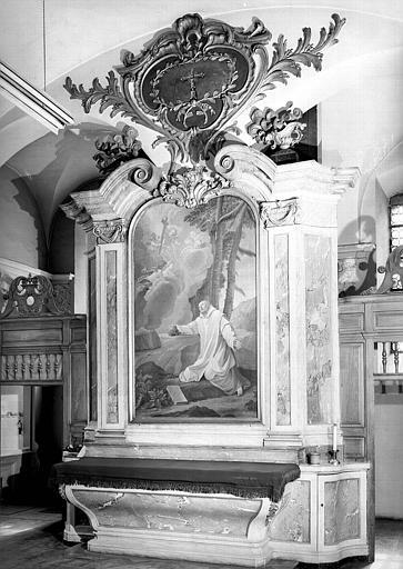 Saint Bruno en prière, autel en bois sculpté, peinture sur toile de la sacristie