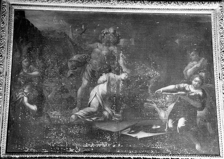 Martyre d'une sainte, peinture sur toile de la chapelle