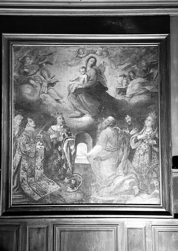 Vierge entourée d'anges musiciens avec sainte Anne, saint Etienne, saint Louis, saint Barnabé, saint François d'Assise et sainte Catherine, peinture sur toile de la chapelle