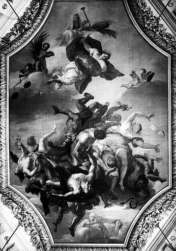 Salle de la Conservation, plafond en perspective, au centre peinture : La Justice poursuivant les Vices