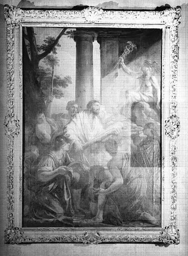 Hercule offrant ses armes à Mercure, peinture sur toile du cabinet d'Hercule