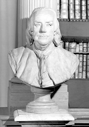 Buste en terre cuite de Benjamin Franklin, salle de lecture