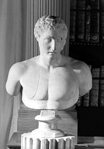 Buste en marbre antique grec, provenant des collections du cardinal Mazarin, salle de lecture