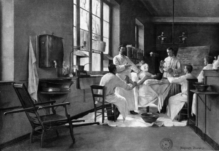 tableau : Delorme décrivant la décortication pulmonaire aux stagiaires du Val-de-Grâce