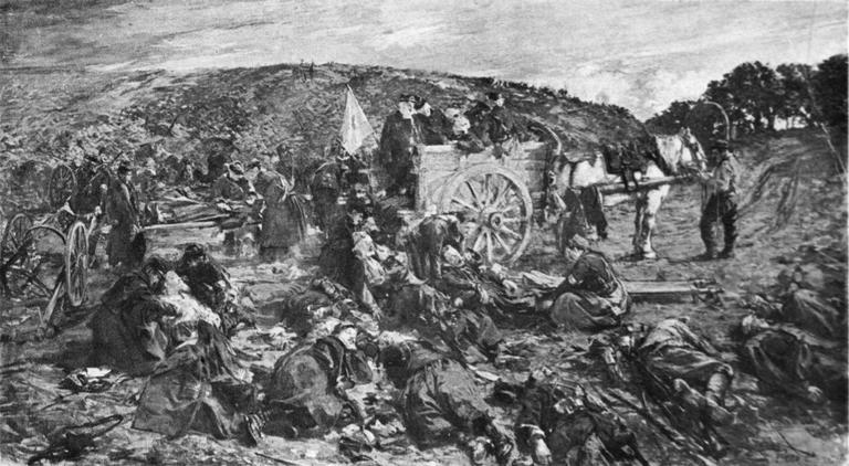 Tableau : Evacuation des blessés à Lachey (bataille de la Marne, 7 septembre 1914)