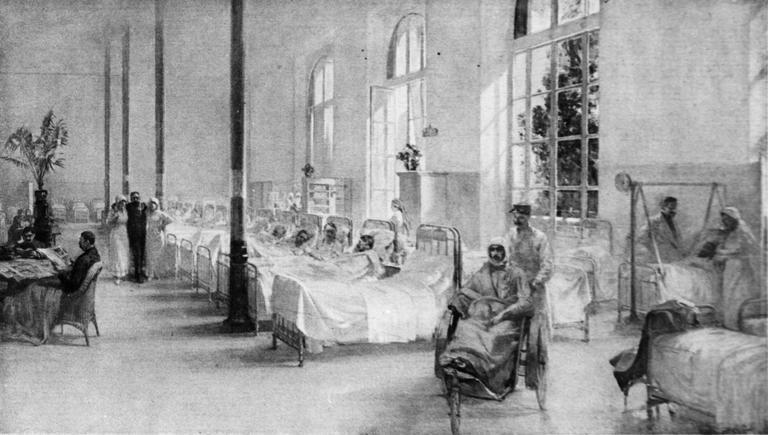 Tableau : La Salle 3 à l'hôpital militaire du Grand Palais