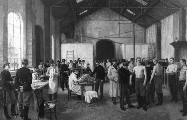Tableau : Vaccination au Val-de-Grâce en 1911