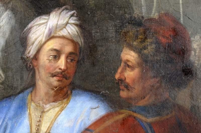 tableau : Saint Louis, accompagné de la famille royale, recevant la couronne d'épines des mains d'un prélat, personnages à droite