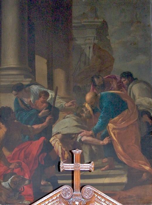 tableau : Le centurion Corneille aux pieds de Saint Pierre