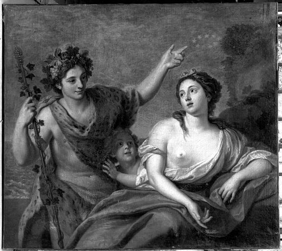 Bacchus et Ariane, peinture sur toile de la galerie (dessus de porte)