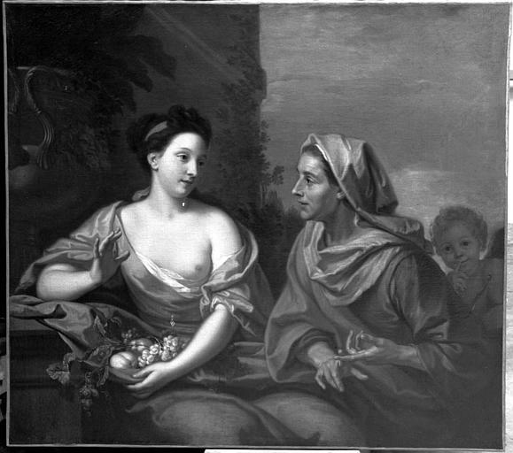 Vertumne et Pomone, peinture sur toile de la galerie, dessus de porte