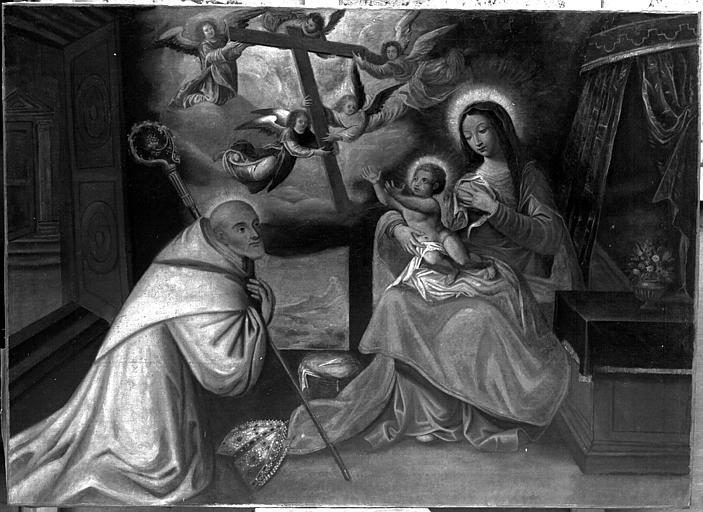 Saint évêque en adoration devant la Vierge nourrissant l'Enfant Jésus, peinture sur toile