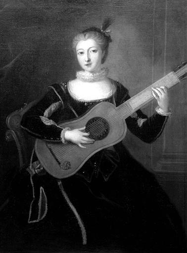 Princesse de Salm à la guitare, peinture sur toile