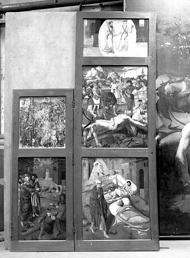 Volets du retable en bois peint des scènes de la vie de saint Pierre et saint Paul : Scènes de la vie de saint Pierre