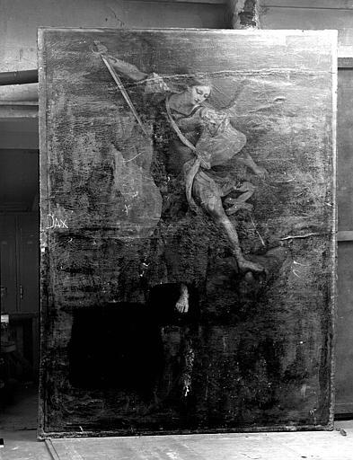 Saint Michel terrassant le dragon, peinture sur toile